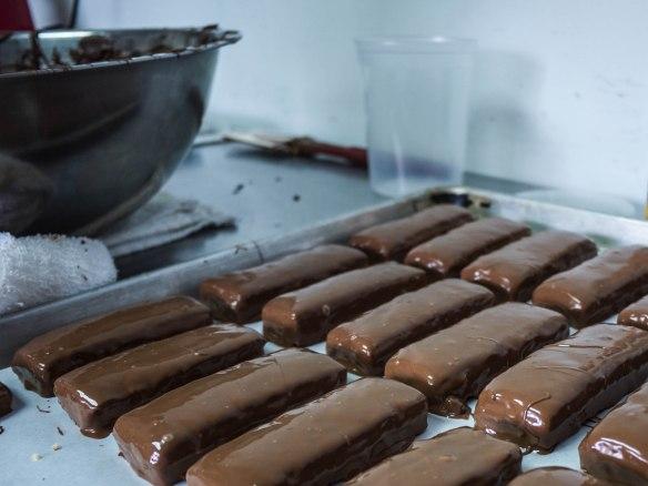 Hand coated chocolate bars