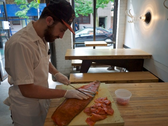 Chef Eli prepares the Lox