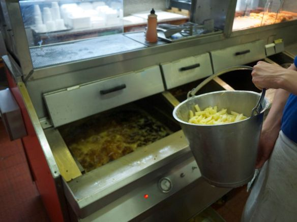 The chips go into the fryer