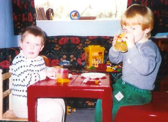 Tom and I munching away from an early age
